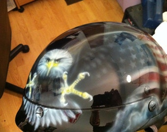 Airbrush Painted Helmets and Motorcycles