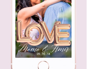 Rose Gold Love Balloon Custom Wedding Snapchat Geofilter