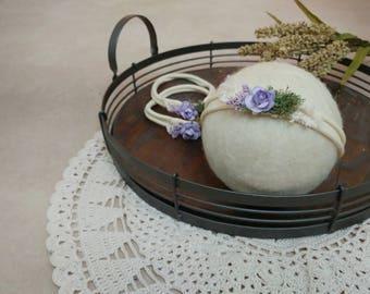 Newborn Headband, Flower Headband, Newborn Photo Prop, Floral Crown, Newborn Flower Headband, Newborn Halo, Vintage Headband,