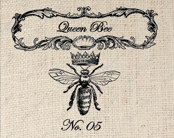 Queen Bee Digital Download or Iron on Transfer