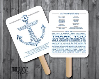 Personalized Nautical | Anchor Wedding Ceremony Program Fan - Digital File