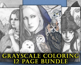 GRAYSCALE Coloring Book Pages PRINTABLE Digital Download Gothic Fantasy Fairies Witches Angels Art Animals Women Adult Coloring