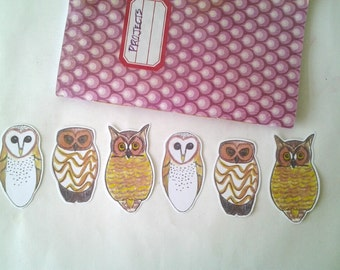 Owl Stickers, unique hand cut art stickers, owl sticker set