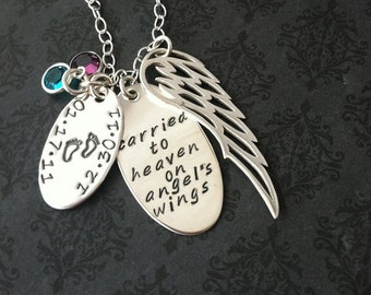 Loss of Loved One Hand Stamped Angel Wing Necklace - Personalized Jewelry- Custom Jewelry- Custom Necklace - Sterling Silver