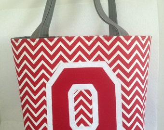 "OSU Ohio State Buckeyes small ""bucket"" tote bag / purse."