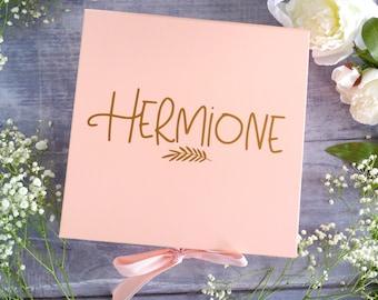 Large Bridesmaid Box - Pink Bridesmaid Proposal Box - Maid of Honor Gift Box - Personalised Gift Box - Boho Keepsake Box - Flower Girl Gift