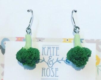 Broccoli - broccoli earrings - drop earrings - veggie earrings - vegan earrings - polymer clay drop earrings - food jewellery - vegan