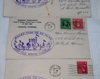 1940 Ice Palace St Paul Winter Carnival Cover Official Cachet Set of 3 Mailed From The Ice Palace Post Marked January 1940 Variety of Stamps