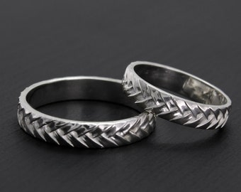 Silver wedding rings, Weaving wedding bands, Matching silver bands, Silver unique wedding bands, Rings His and Hers, Couple rings, Band set