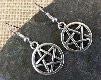 Pentagram earrings, pentacle, goth, wicca, pagan jewellery, gift, surgical steel earrings