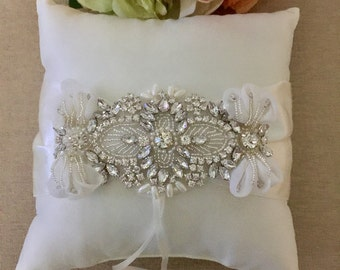 Rhinestone Ring Bearer Pillow - Ring Bearer Pillow- Satin Ring Pillow