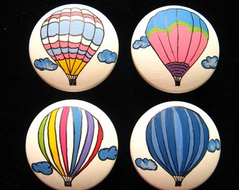 4 Hot Air Balloons Drawer Knobs - Hand Painted