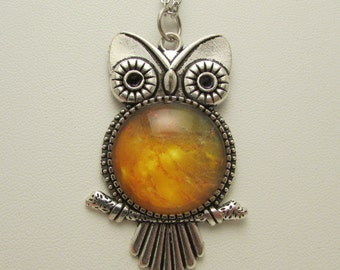 Outer Space Owl Necklace, Owl Pendant, Glass Pendant, Glass Necklace, Glass Jewelry, Space Nebula Pendant, Glass Dome Necklace, Glass Owl