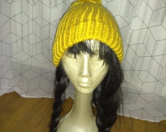 Golden yellow knit winter hat