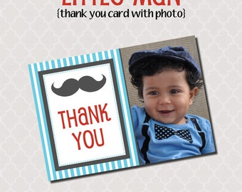 Printable Thank You Photo Card - Little Man Party Collection