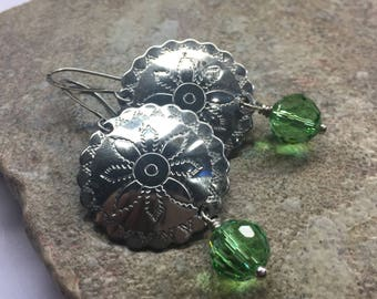 Earrings vintage metal decorative disk and light green crystal beads