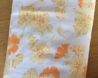Vintage twin flat sheet. Vintage orange floral flat sheet. Vintage flat sheet. Vintage twin sheet