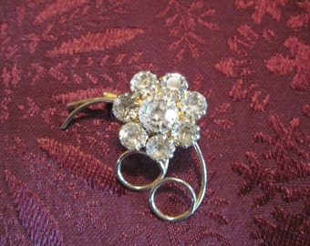 Vintage Gold and Rhinestone Floral Brooch