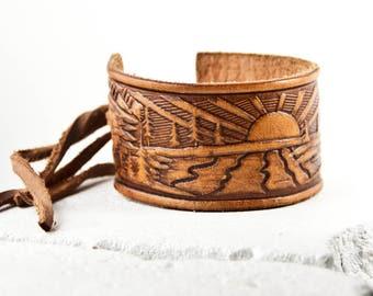 Tooled Leather Bracelet Cuff Wristband Vintage