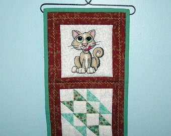 Adorable cat mini quilted wall hanging, hanger included