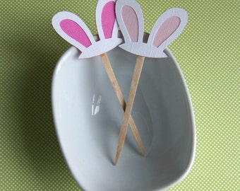 Bunny Ears DIY Cupcake Topper Kit, Easter Bunny Cupcake Toppers, Bunny Party Picks or Skewers