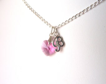 Heart Necklace for Girlfriend, Heart Necklace with Initials, October Birthstone Necklace, Girls Necklace, Pink Necklace, Gift for Tween Girl