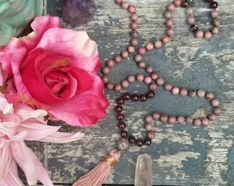 Pink Gemstone Mala Necklace, Hand Knotted Mala, Rhodonite + Ruby Jasper 108 Mala Beads to Unleash Your Inner LOVE Goddess