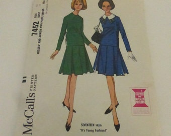 Vintage McCall's Pattern 7452 Misses 2 Piece Dress with Box Pleated Skirt Size 12