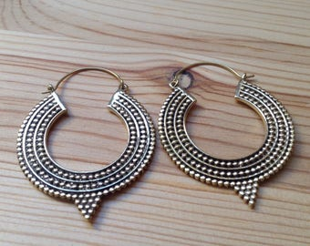 Tribal Silver Hoops . Modern Ethnic Gypsy Earrings .