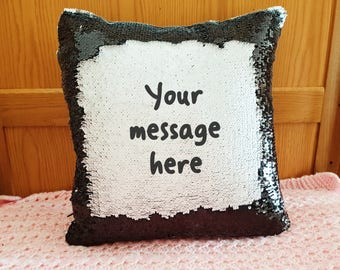 Personalised magic mermaid cushion black white custom message reveal pillow cover only surprise mother's day present hidden message text