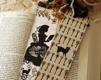 Bookmark - Bookmark with fibers - Reading - Book - Silhouette - Miss Shadow Book