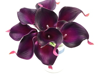 Dark purple flowers etsy eggplant purple calla lily bouquet 9 stems pu calla lilies real touch flowers dark purple bridal mightylinksfo Choice Image
