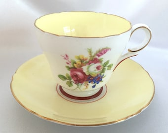 Vintage Shelley England pale yellow demitasse cup and saucer