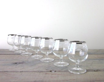 Vintage Stemmed Cocktail Glasses with Silver Trim and Etched Leaves Set of 7