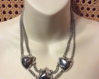 Silver chain multi strand pyramid cabochons necklace signed Express.