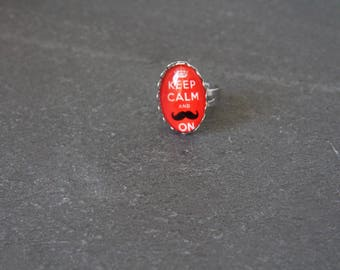 Ring oval red mustache glass
