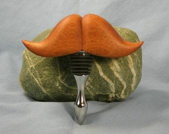 Moustache Wine Bottle Stopper Mahogany V