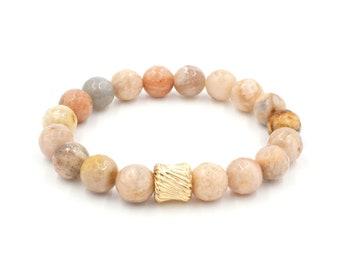 Gold Twist Sunstone Bracelet | Sunstone + Gold Stretch Bracelet | Beaded Stack Bracelet