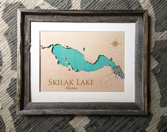 Skilak Lake, Alaska - Barnwood Framed Custom Color 3D Lake Sign - Handmade Engraved Lake Sign