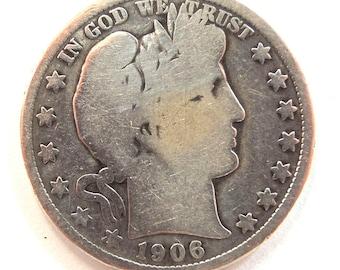 Vintage 1906 Barber Half Dollar - Silver Half Dollar, Rare Coins, Silver Coins, USA Coin - Free Shipping