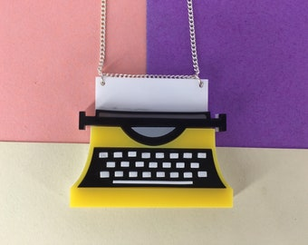 Typewriter necklace, letters, handmade necklace, keys, yellow necklace, jewellery, perspex jewellery, perspex jewelry, perspex necklace