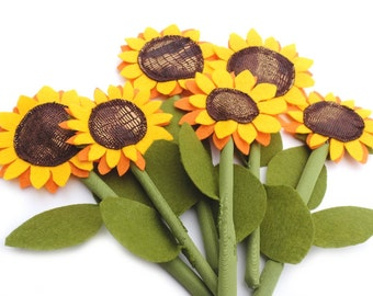 Felt Sunflower, Textile Flower, Fabric Toy, For Kids,  Pretend Play, Eco Friendly Home Decor, Fall Ornament, From the Garden SMALL SIZE