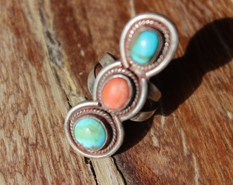 Vintage Sterling Coraline and Turquoise Ring