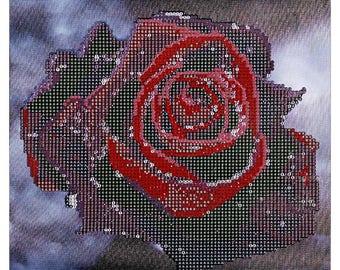 Drip Red Rose 3D Diamond Cross Stitch DIY Kit Rhinestone Mosaic Canvas Painting Home Wall Decor 30 x 30cm