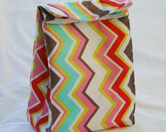 Vertical Chevron- Fully Insulated Lunch Bag Water and Mildew Resistant Interior-Brown Paper Bag Style