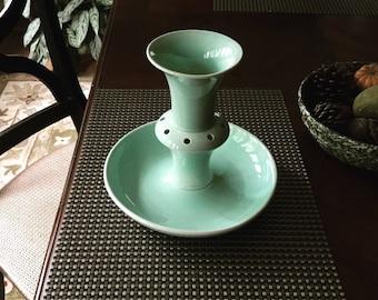 Luray Epergne Vase, Vintage Luray Pastels, LuRay Flower Vase, Vintage TST, Taylor Smith & Taylor, Lu-Ray, Flower Frog, Surf Green Lu-Ray