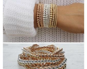 gold bead bracelet • gold beads bracelets • 14K gold filled gold bracelets • sterling silver • gold bead bracelet • beaucoupdebeads • B014