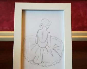 6x4 ballet dancer hand drawn sketch with frame