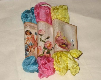Scrunched Seam Binding ribbon, Hand Crinkled Seam Binding Packaged Vintage Easter Eggs ECS