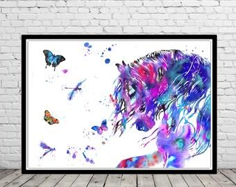 Horse, andalusian horse, watercolor print, watercolor horse, animal print, horse and butterfly dragonfly, horse art, horse, animal (3048b)
